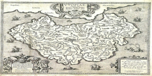 Abraham Ortelius's map of Utopia circa 1595 (Wikipedia Public Domain)